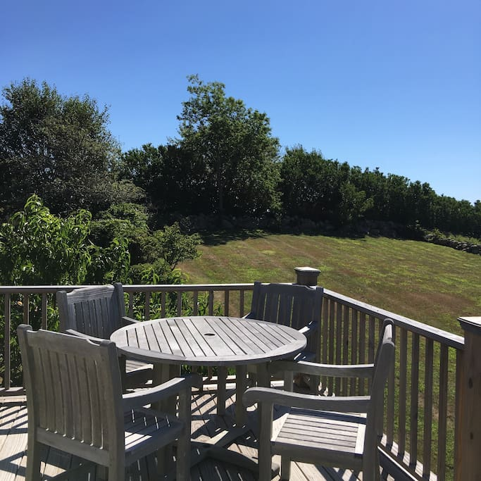 sweeping views of 2 acre property from your private balcony deck