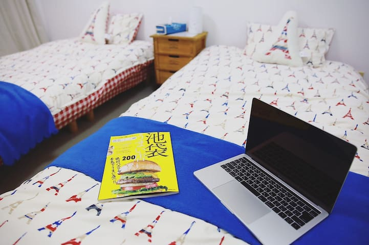 new house@东京都池袋,距离车站6分钟,简洁大方,温馨舒适,一间房,两张单人床 - Toshima-ku - 아파트