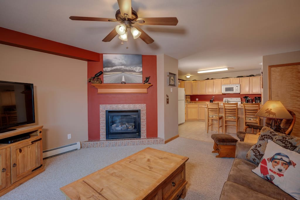 Family Room with sleeper sofa and gas fireplace