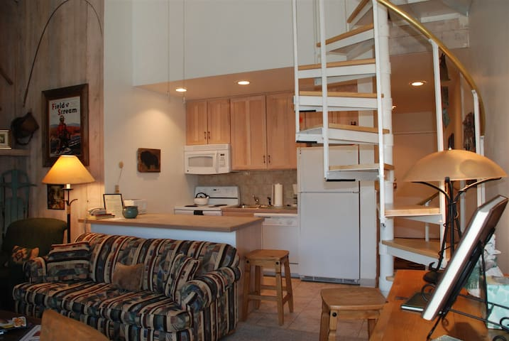 Full kitchen & circular stairs to loft bedroom