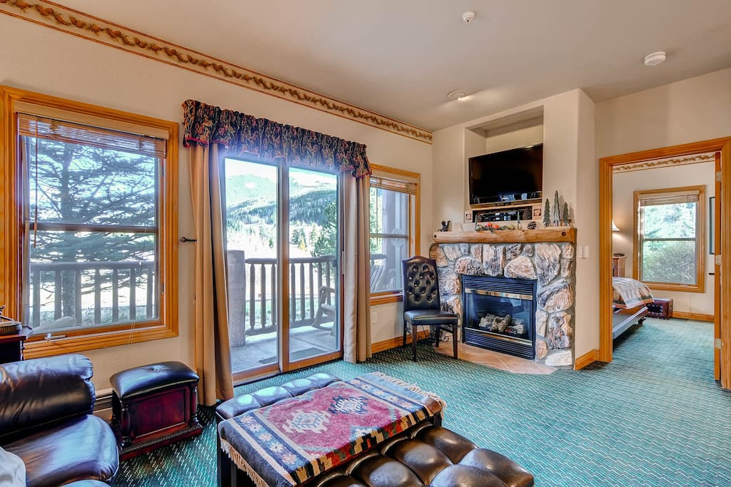 Kick up your feet and relax in the spacious living area after a day on the slopes.