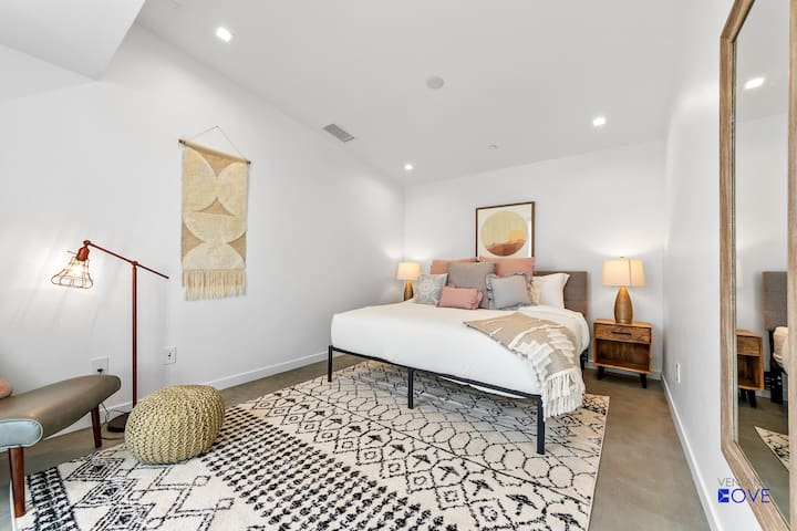BDRM 1 has a king hybrid memory foam bed, private entrance off the patio and a large en suite full bath.
