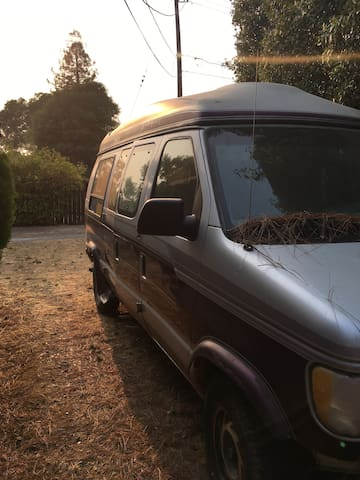 Stay in our awesome van and enjoy the farmstead.