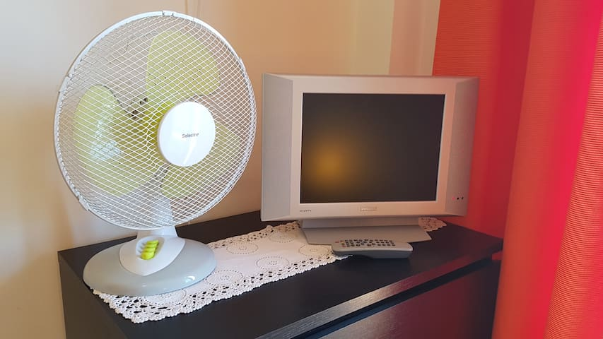 Fan and TV on the Room