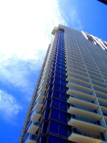 View of the Palms Place tower from down below