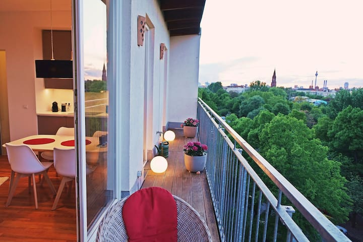 Appartment am Park, Kreuzberg, Balkon, Weitblick