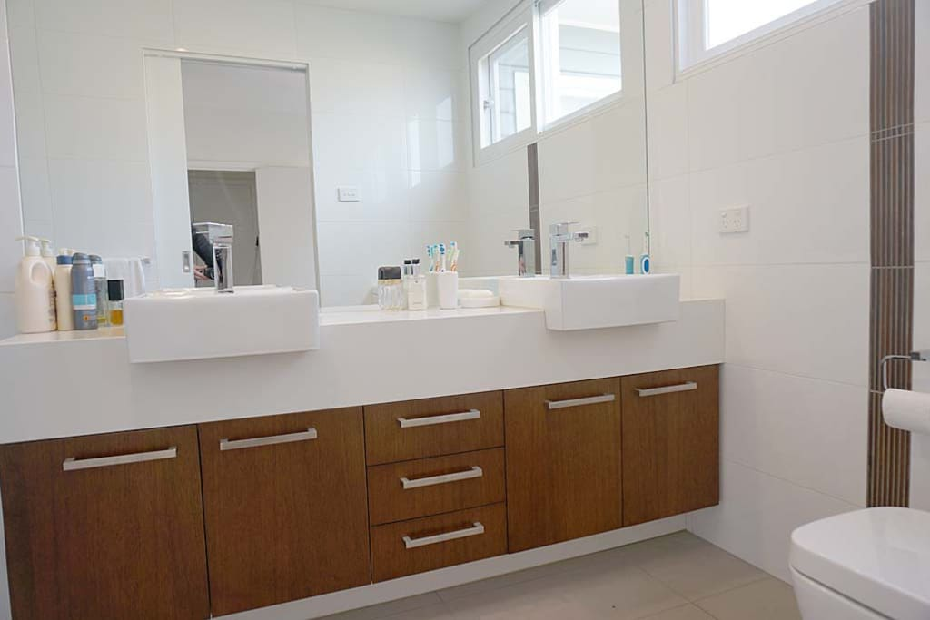 Very spacious ensuite with double vanity and shower