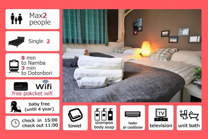 Special Discount Prise!!!★Dotonbori area★3F11 - Osaka - Apartemen