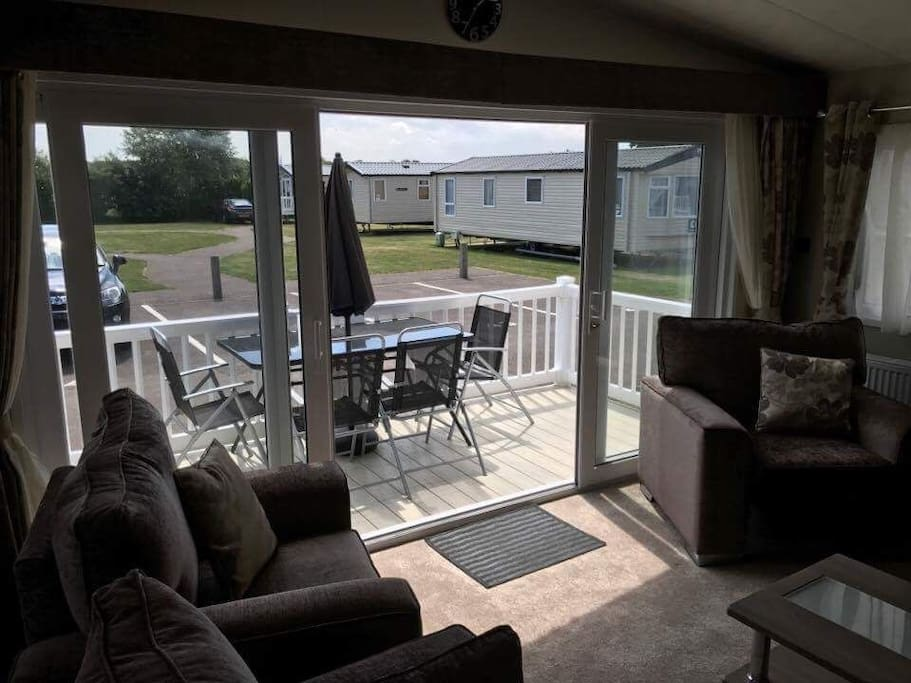 We are located on a very quiet part of the site so relax all day with the patio doors open