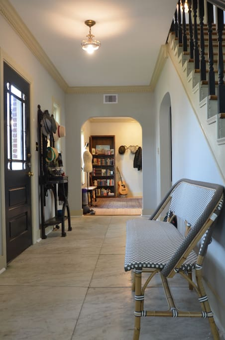 Downstairs:Elegant marbled front entry and foyer.