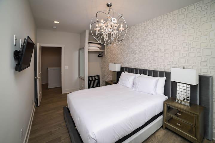 """Unit C: Bedroom 3   2nd Floor. Queen Bed with pillow-top, 43"""" Smart TV, A/C."""