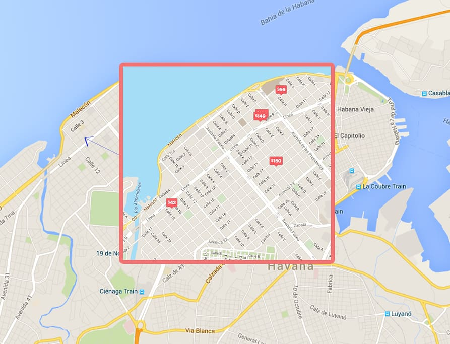 Approximate location of Apartments in Vedado