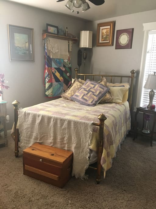 Full size bed with antique brass frame!  Very comfy!