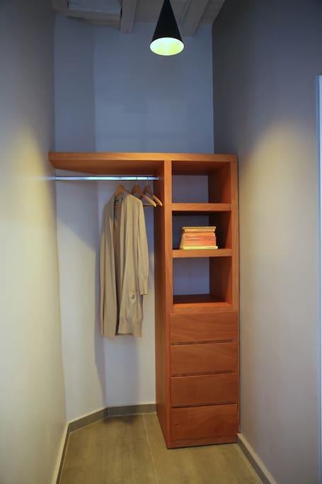 Spacious closet with hanggers