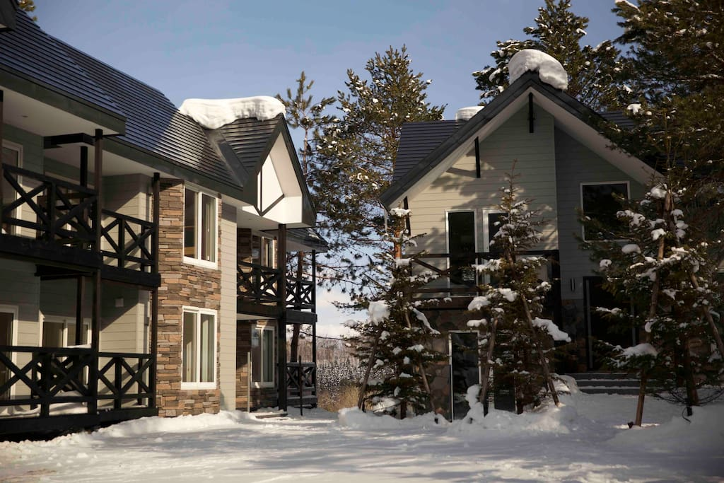 The property's Alpine silhouette features accents of timber and cultured stone.