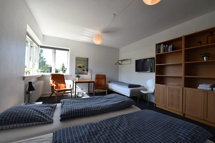 Store lyse nyrenoverede værelser