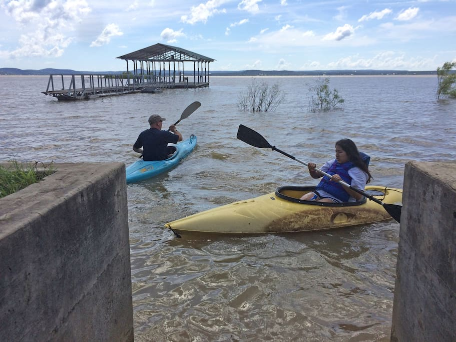 Enjoy kayaking right off the seawall.  The dock isn't ours but we have one coming soon!