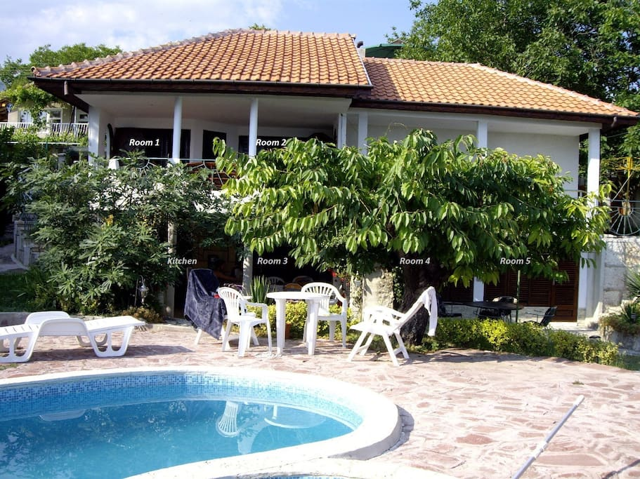 Villa Sunny Joy with room numbers