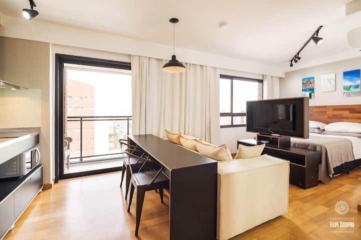 Apto 41 estúdio em prédio luxuoso Vila Madalena