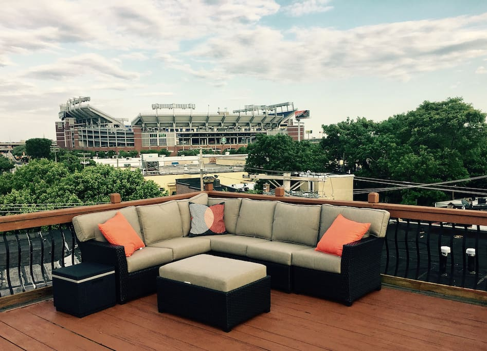 Awesome roof deck overlooking both Ravens and O's Stadiums.