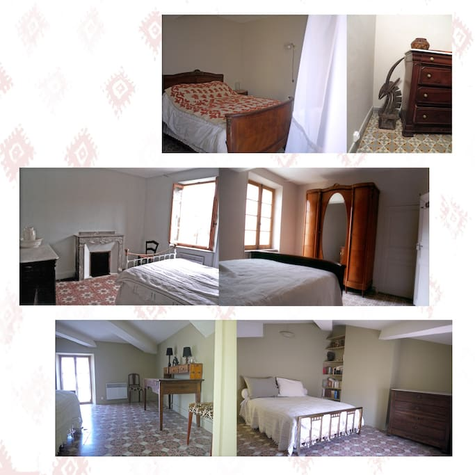 3 chambres de taille normale