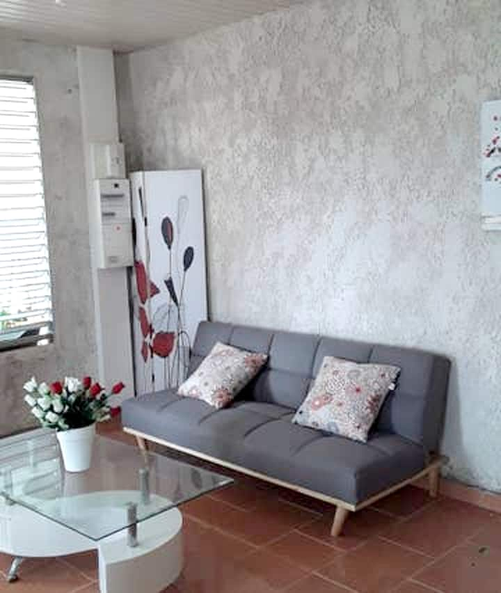 Apartment with one bedroom in Petit Bourg, with private pool, furnished garden and WiFi - 4 km from the beach
