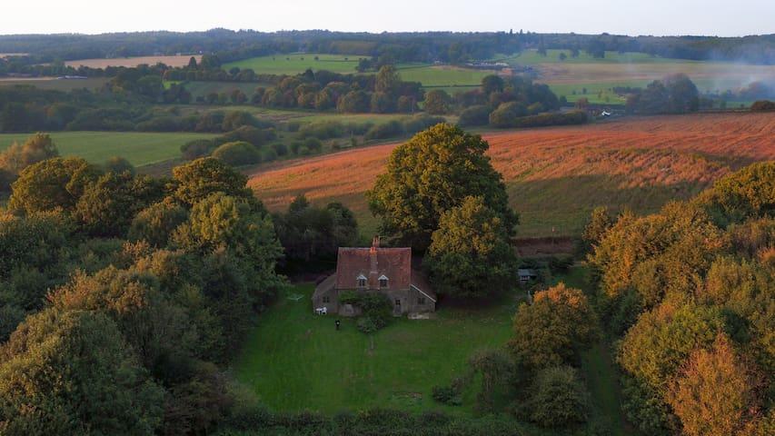Simple cottage on organic farm