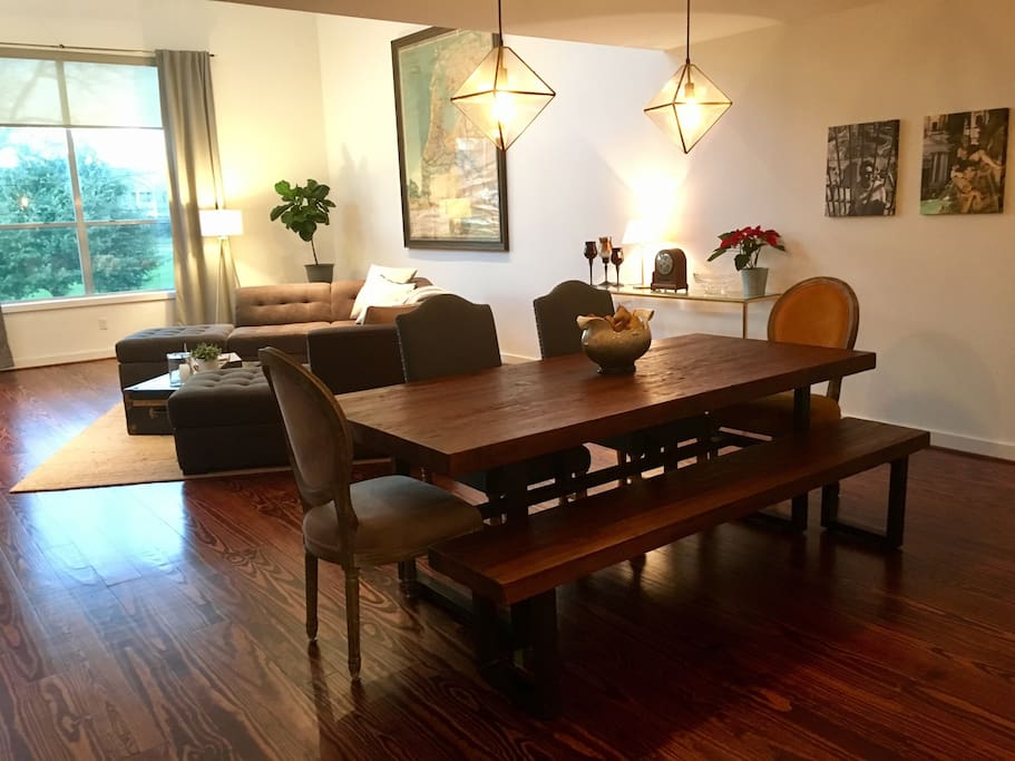 Large dining table that comfortably seats six people.