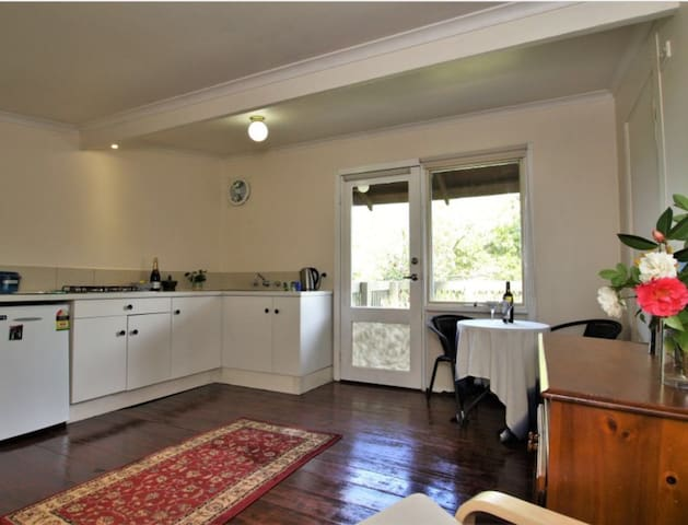 The modest kitchen comes with tea, coffee, fresh bread and spreads, cutlery and crockery.