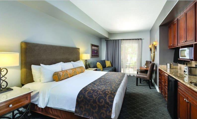 The king room with pullout sofa and balcony was newly refurbished this year.