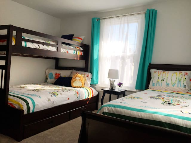 2nd bedroom, large bunk bed (with steps, not a ladder) and single size bed