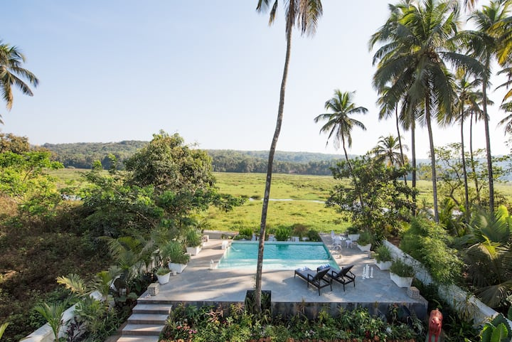 Villa with a natural pool and paddy field view