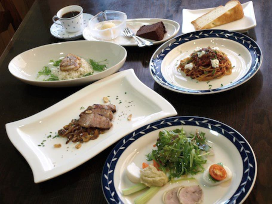 이탈리아에 요리를 공부한 쉐프가 유후인의 현지 식재료를 이용해서 만든 정통 이탈리아 요리의 디너 풀코스 Example of the authentic Italian full-course dinner
