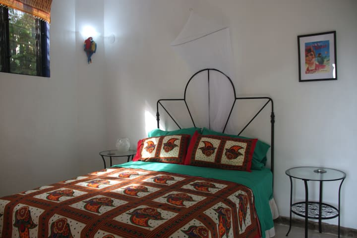 Second bedroom with parrot theme decor. Queen size bed.
