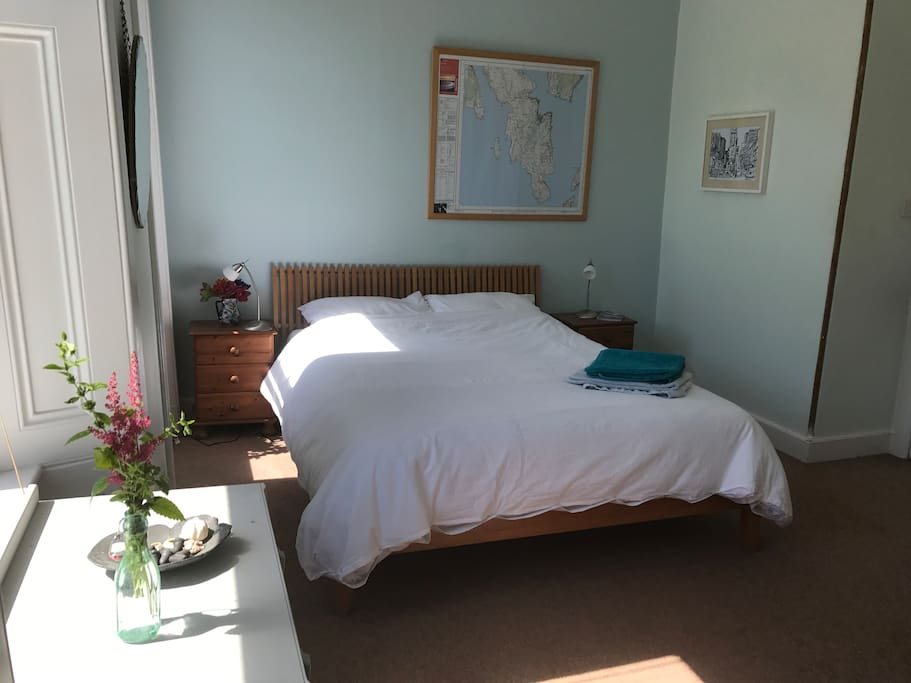 Sunny, comfortable, double bed room.
