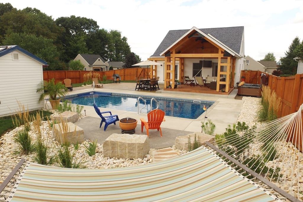 Outdoor Amenities. Pool, Hot Tub, Grill, Gas and Natural Fire Pits, Outdoor Shower, T.V., Bluetooth Music System.