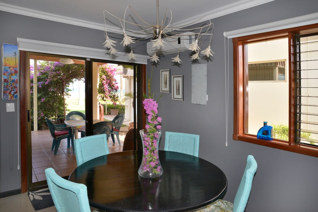 Dining room. Patio doors lead out to private patio