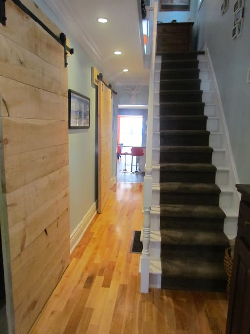 Hallway with barn doors.