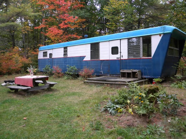 Rustic, cozy vintage Maine trailer
