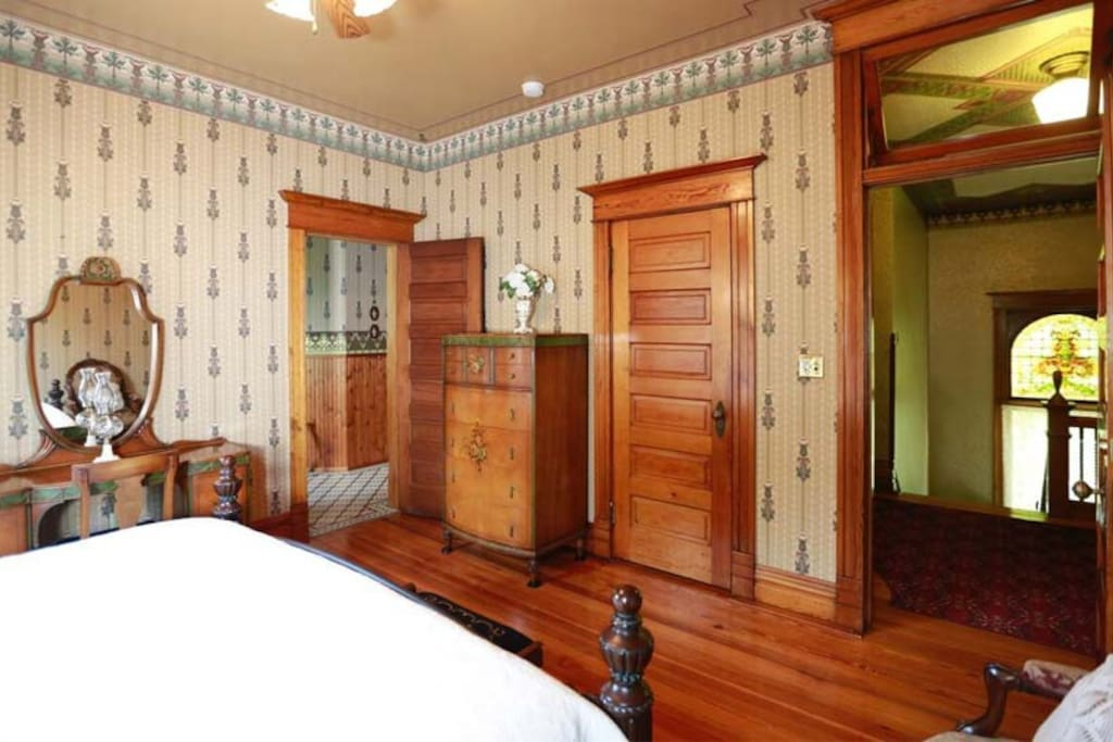 Large spacious room with closet and ample drawer space and luxurious large ensuite vintage bath.