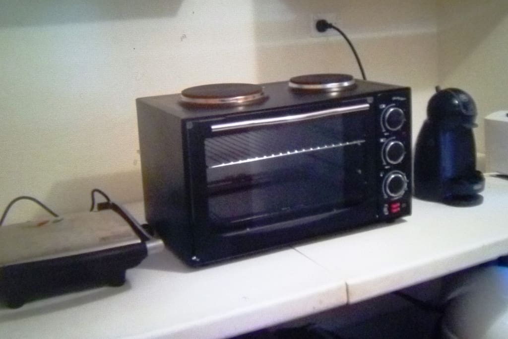 2 burner stove with oven, sandwich press, jug, toaster, coffee machine and more!!