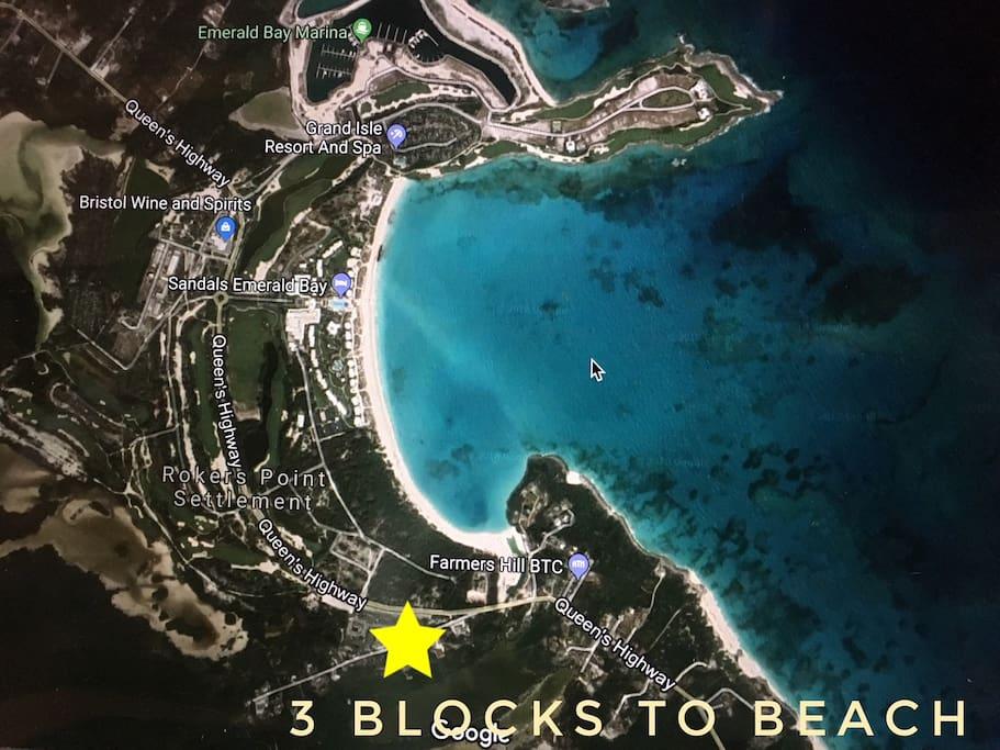 3 blocks to Emerald Bay Beach