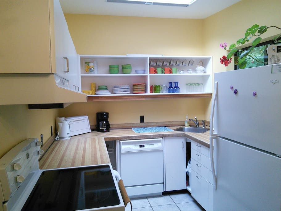 The well equipped kitchen with dishwasher