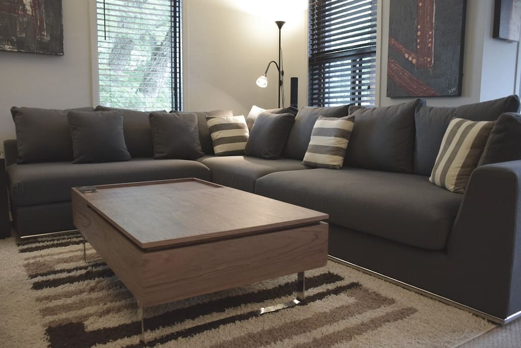 Comfy sofa & coffee table.