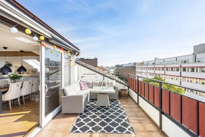 Luxury Penthouse - terrace & sauna - Sundbyberg - Appartement