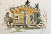 Crédit dessin: Amandine Tomas Un lieu pour créer en toute quiétude.