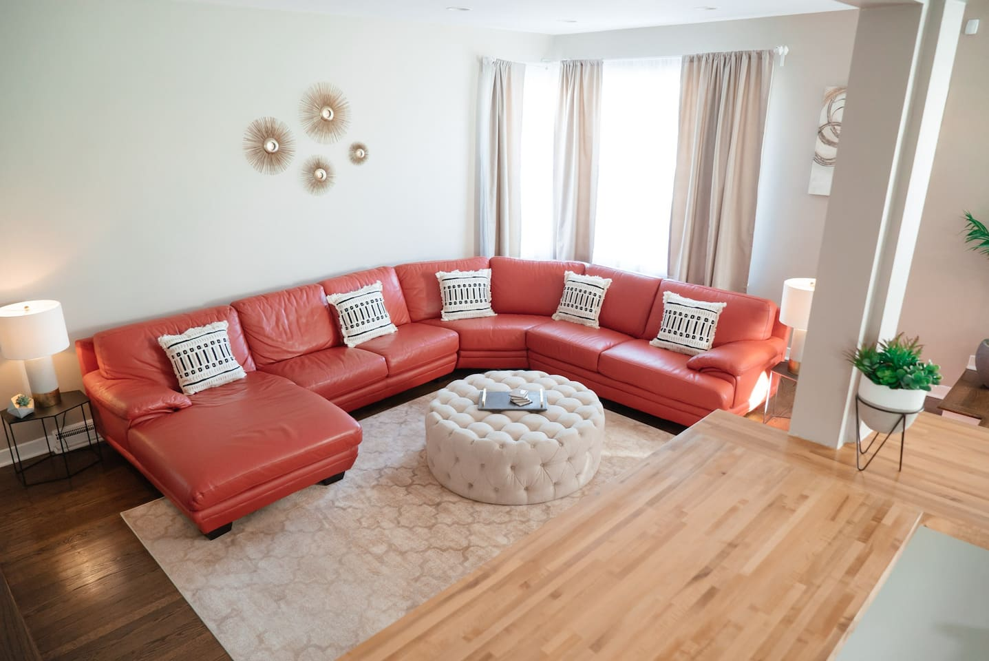 Whether putting your feet up after a long day or dozing off after a slice of deep-dish, our living room couch is the perfect place to relax