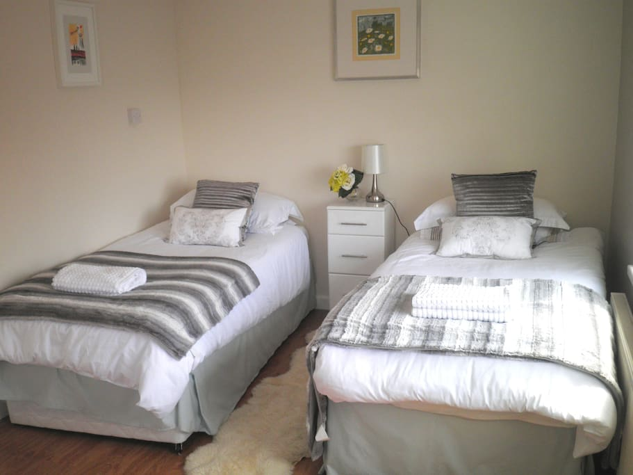 Bright Spacious Room which may be locked. Twin beds may be connected to make a double King on Request