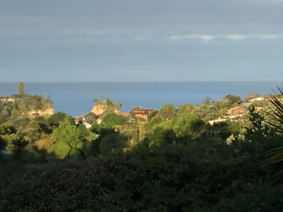 View from the deck to Waiake Beach