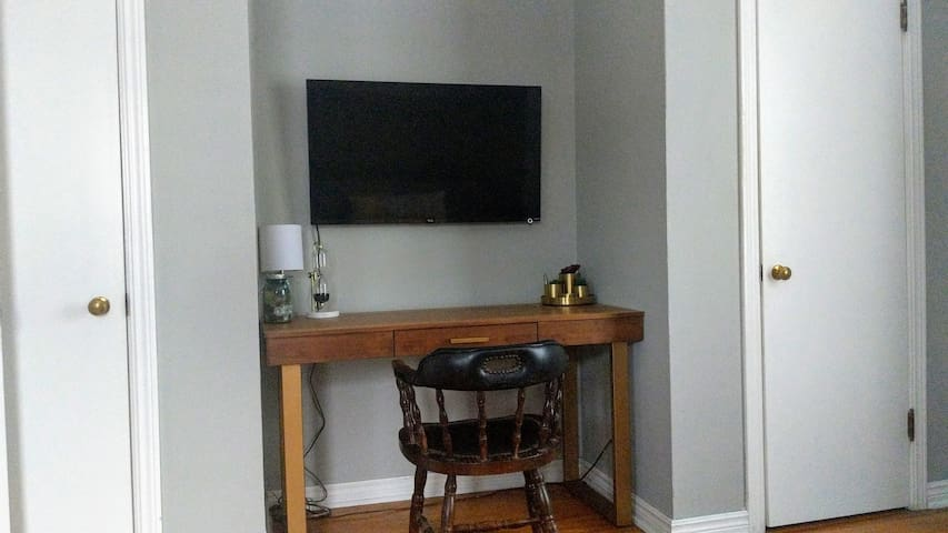 Desk and wall-mount TV includes several streaming channels such as AmazonPrime, Netflix and Hulu.